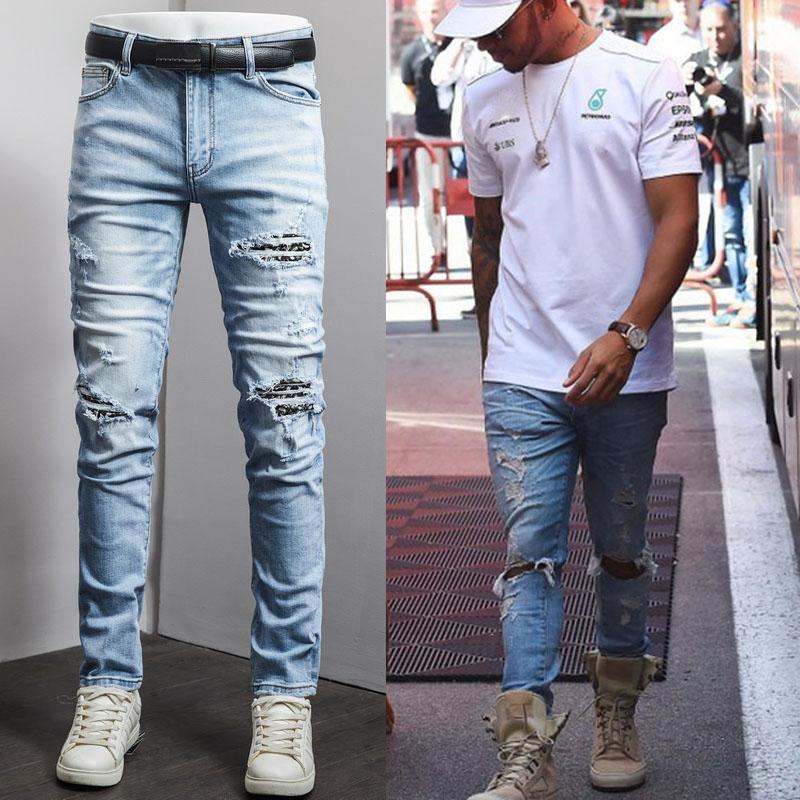 Men's Vintage Pockets Slim Biker Jeans Casual Stretch Denim Pants Long Trousers Plus Size 38
