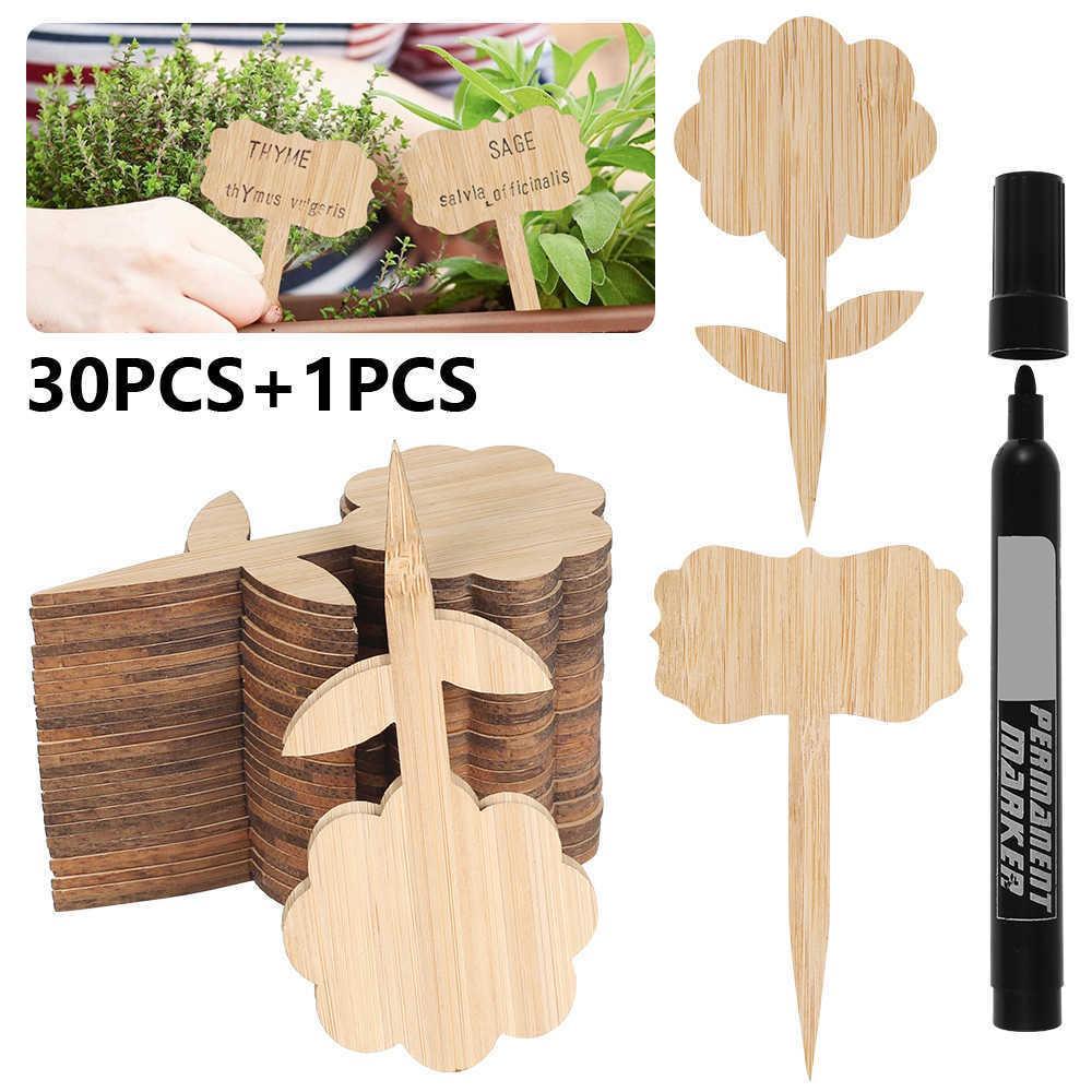 30 PCS T-Tipo de Bambu Estúgio Etiquetas Eco-Friendly Planta de Madeira Sinal Tags Marcadores de Jardim para Bonsai Semente Potted Ervas Flores Ferramenta 210615