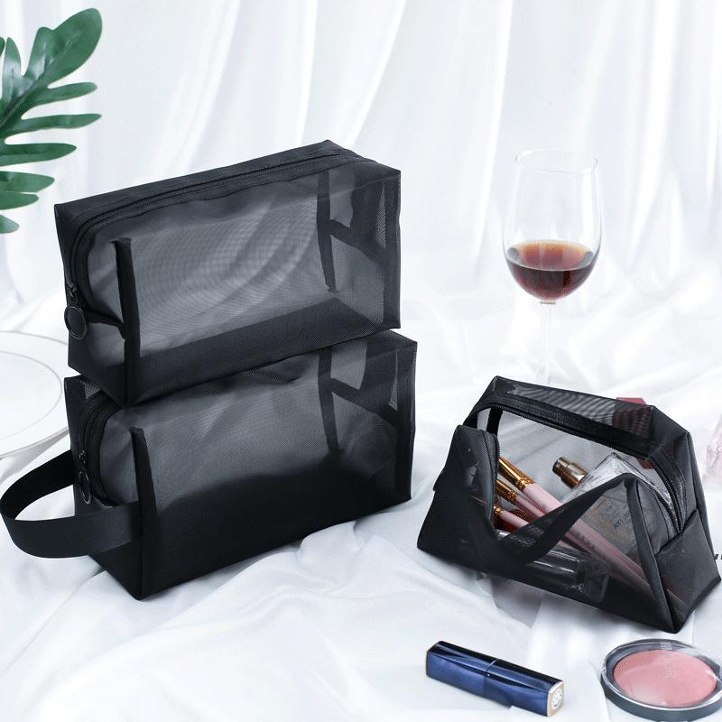 Women Men Necessary Portable Large Capacity Cosmetic Bag Transparent Travel Organizer Fashion Black Toiletry Bags Makeup Pouch BWF9013