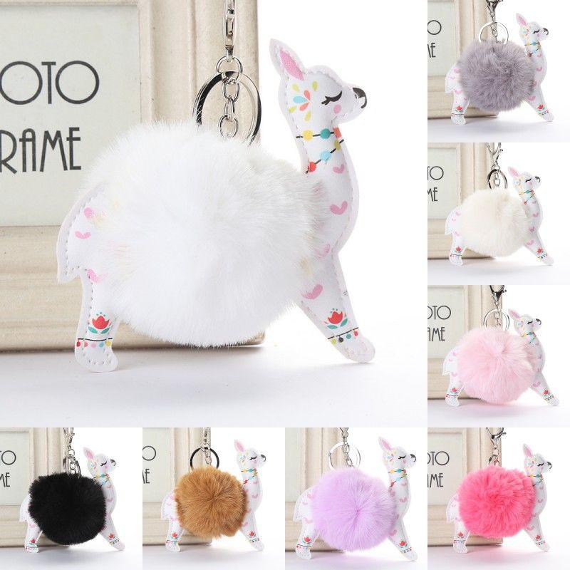 Fluffy Fur Ball Alpaca Key Rings Leather Animal Keychains Charm 10cm Artificial Rabbit Pompom Keyrings Women Jewelry Kimter-P43FA