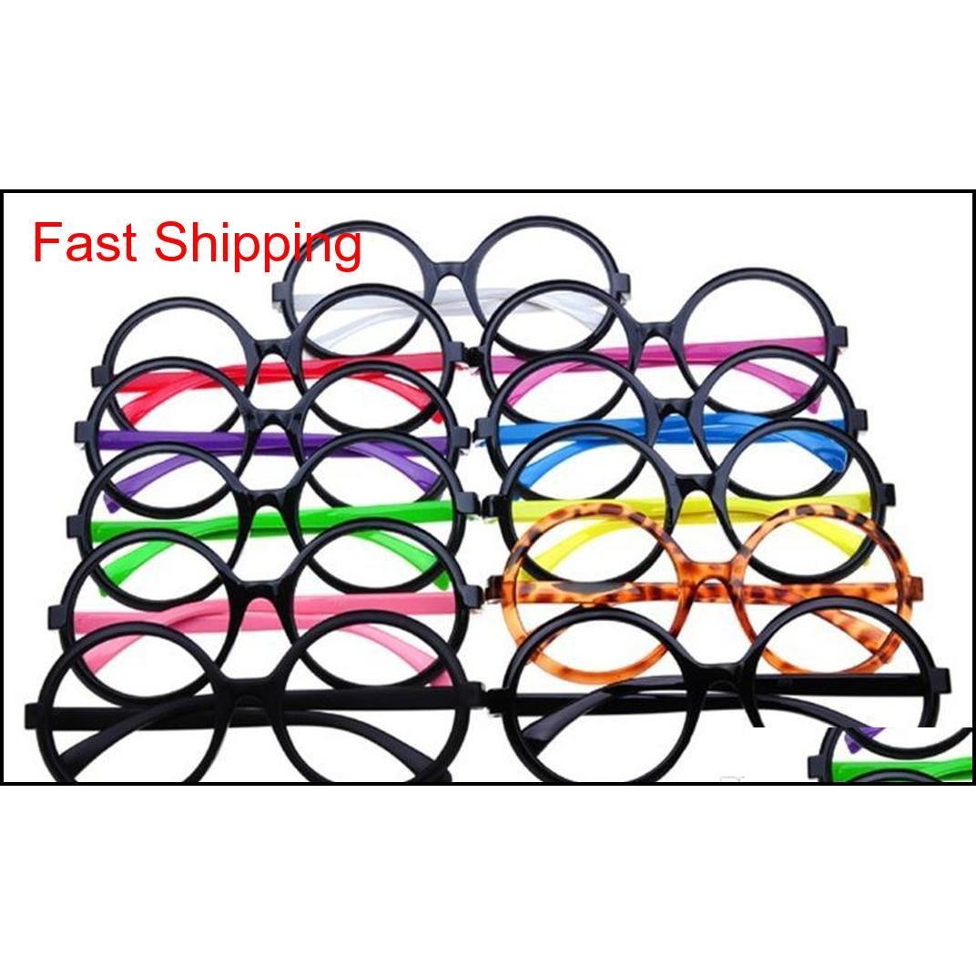 Солнцезащитные очки Аксессуары Drop Доставка 2021 Уинсекс Декоративные Очки для глаз Очки Для Женщин Мужчины Круглые Опция Мода Оптические Рамы оптом