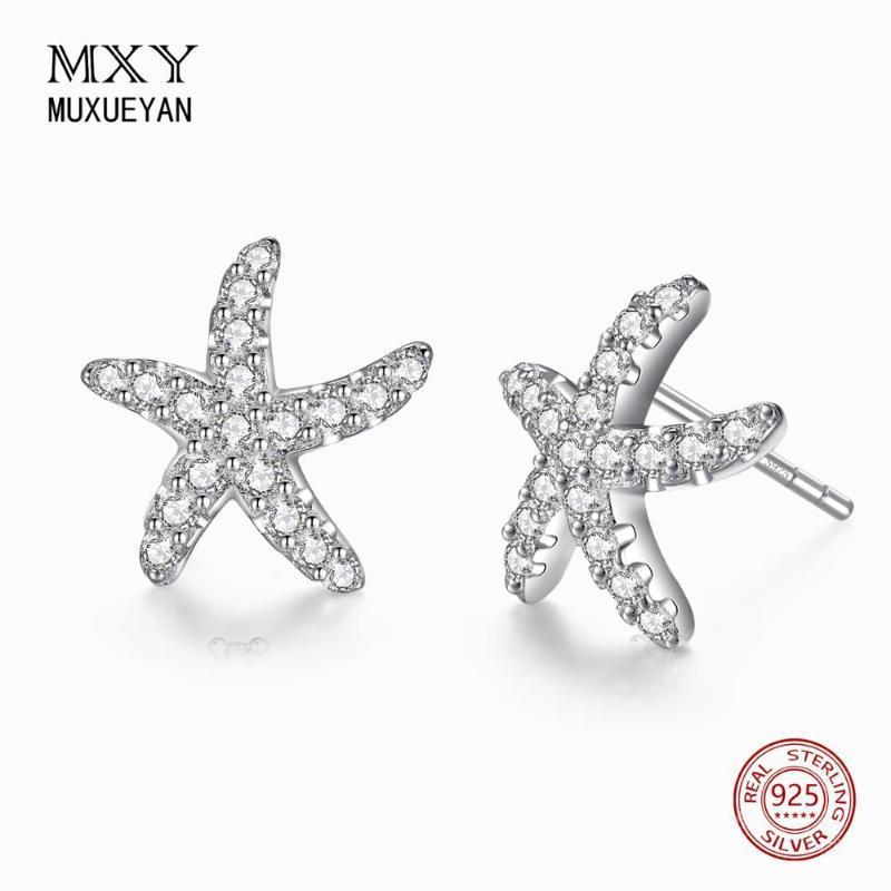 Sterling Argent Petits Starfish Stud Boucles d'oreilles pour femmes Cadeau de bijoux unique 2021 Trend Muxueyan