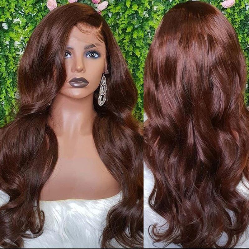 Dantel Peruk Çikolata Kahverengi Vücut Dalga Şeffaf 13x6 Ön İnsan Saç Kadınlar Için Bebek Tpartlace Peruk Ile Ağartılmış Knuss Remy