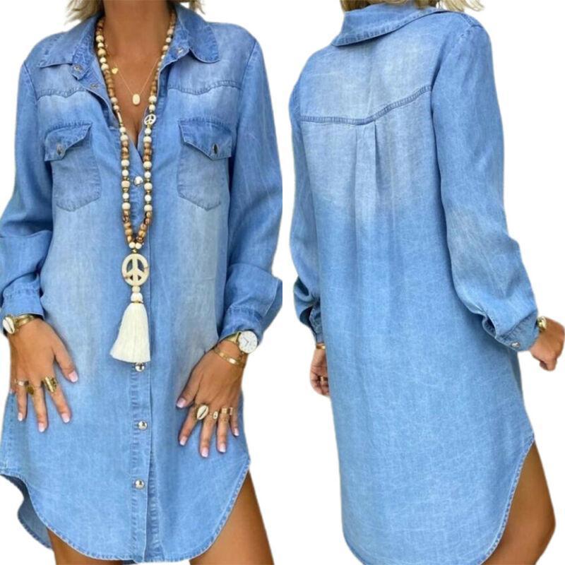 Vestidos casuais denimn solto womens manga longa botão para cima camisa vestido senhoras lisa denim luz azul high street