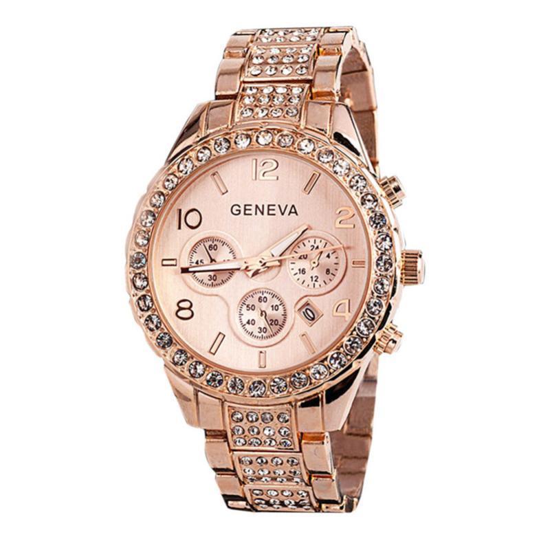 Montre-bracelet 2021 montres dames Luxe Rose Genève Genève de mode Strass En Acier Inoxydable bande de quartz Horloge Dames