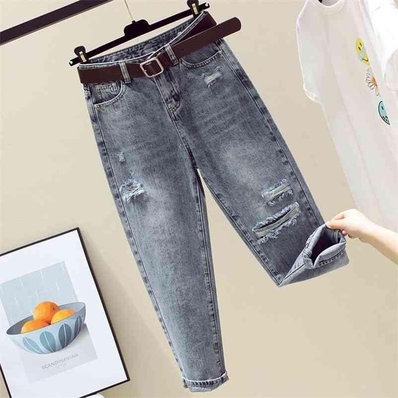 Lose Hohe Taille Jeans Frau Frauen Frühling Denim Hosen Hosen Baumwolle Pantalon Mode Kleidung Stil 10829 210510