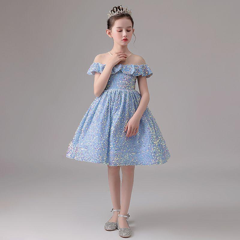 Schöne kurze Blume Mädchen Kleid Knielangen Ballkleid Glänzende Pailletten Lichthimmel Blau