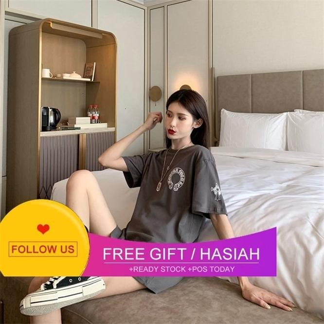 Summer Big Horseshoe sanskrit stampa collo girocollo Chaokeluoxin ch T-shirt allentati Breve Abbigliamento a metà manica