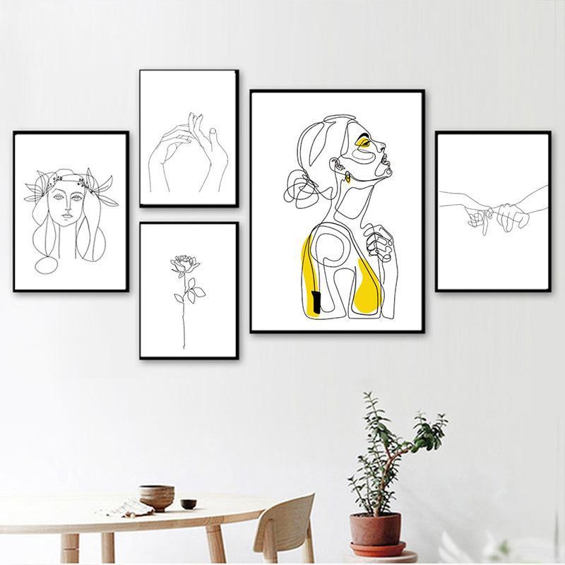 Nórdico linha abstrata arte pinturas sexy mulher corpo nu parede pintura de lona desenho de desenho imprime decoração para sala de estar
