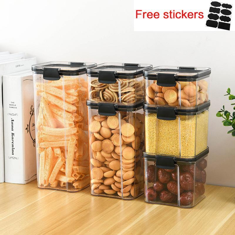 Depolama Şişeleri Kavanoz Mutfak Buzdolabı Noodle Kutusu Gıda Konteyner Plastik Multigin Tankı Şeffaf Mühürlü Güz Dayanıklı