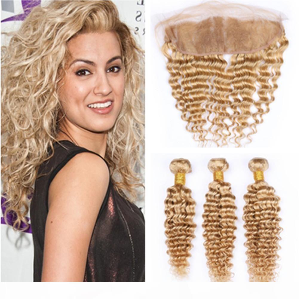 # 27 Honey Blonde Vierge Brésilienne Humain Human Wave Tissu avec frontal ondulé brun 13x4 dentelle en dentelle frontale libre avec 3bungles