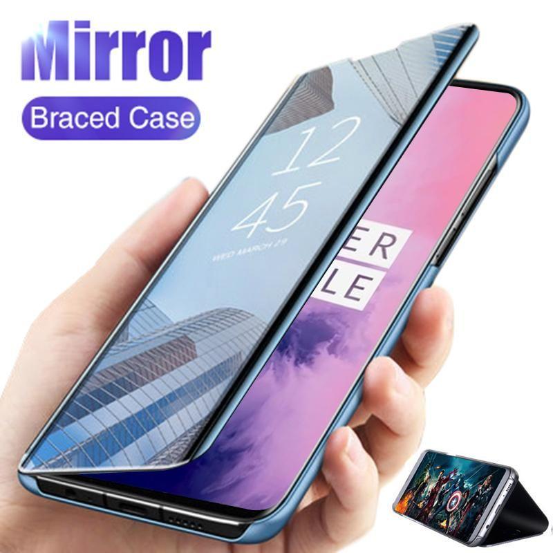 Akıllı Ayna Çevirme Kılıfı OnePlus 8 Pro 7T 7 6 T 6 5 T PU Deri Darbeye Kapak 1 + 1 + 6T Cep Telefonu Kılıfları