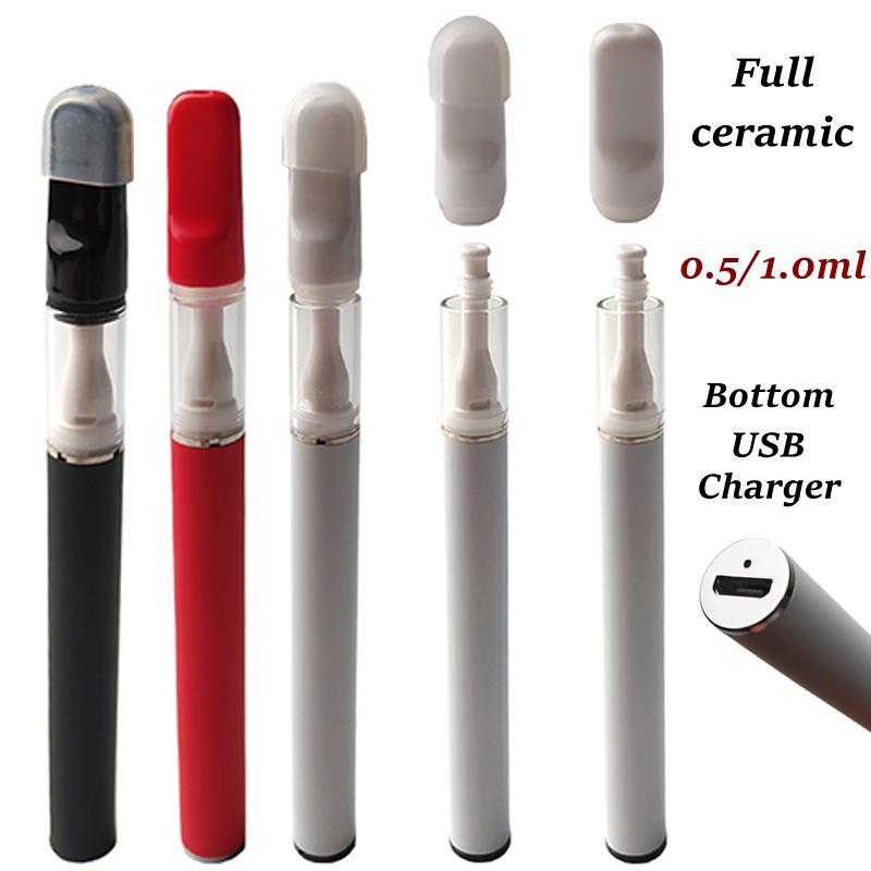 Pen-stylo à usage unique en céramique 1.0ml 0.5ml chariots de 0.5ml E cigarettes de vaporisateur rechargeable kit de démarreur 350mAh emballage de la batterie inférieur chargeur USB d'atomiseur d'huile vide