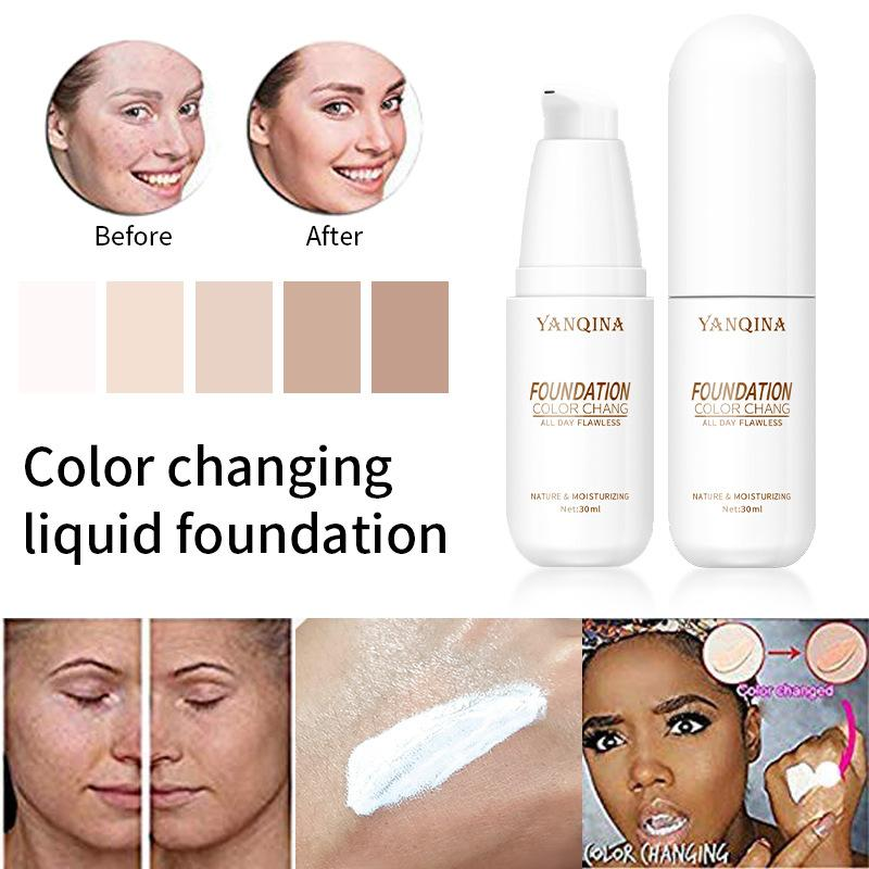 YANQINA Brighten Liquid Foundation Color Change Smooth Thin Moisturizing Face Makeup Natural Concealer Cream Base