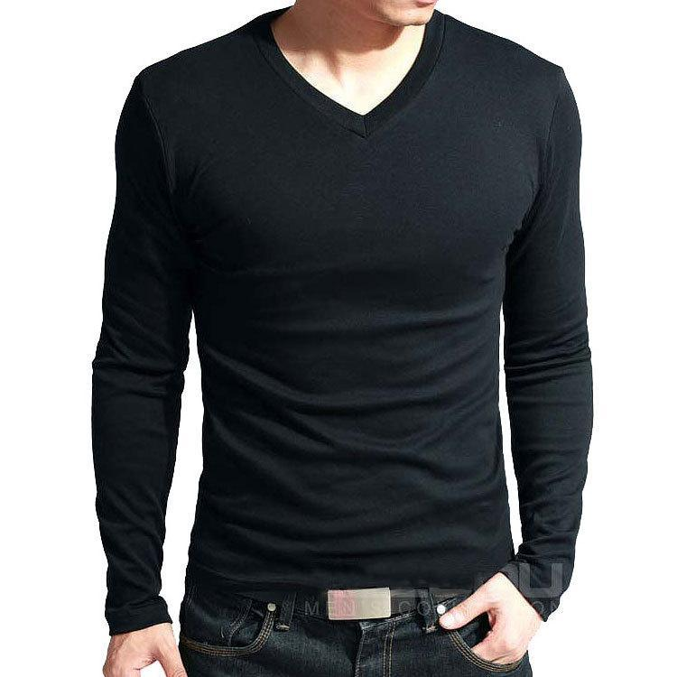 T-shirt con scollo a maniche a maniche lunghe in cotone in lycra