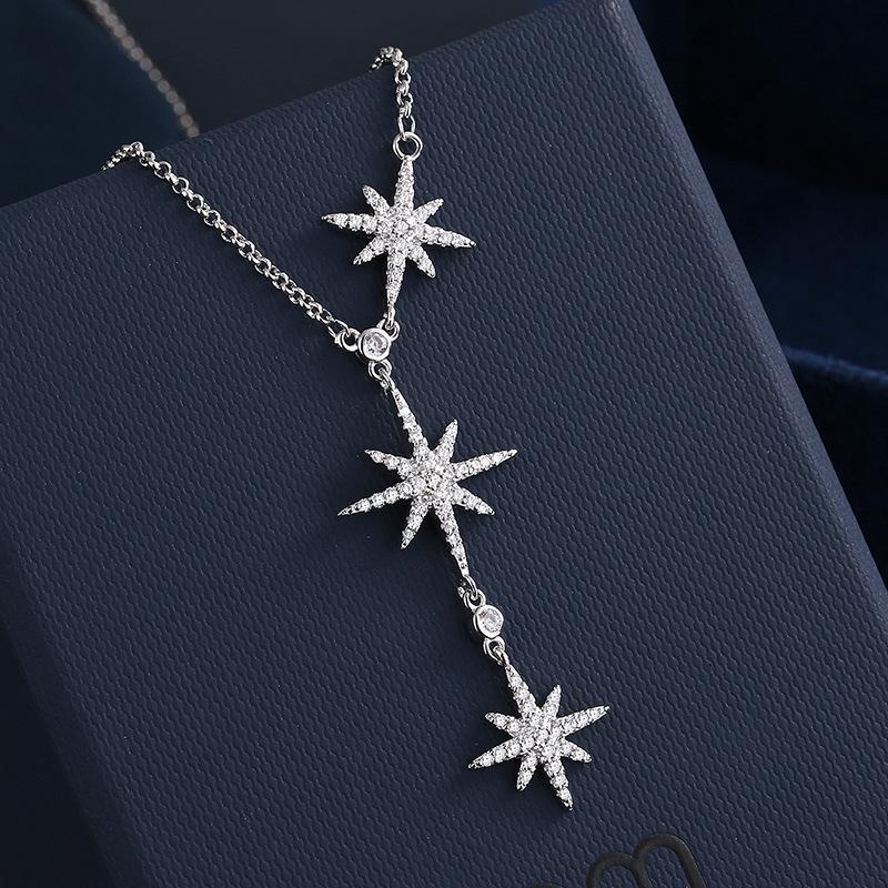 collier mlg.apm diamant mètre de météore de météore de diamant personnage six étoile pointue étoile trois nelace pendentif femme pull chaîne de la chaîne