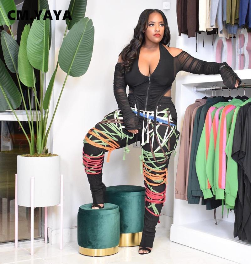 CM. Streetwear Donne Lace Up Strings Pants a vita alta Hip Hop Pantaloni Activewear Sport Sport Jogger Pantaloni Pantaloni da donna Capris Donne