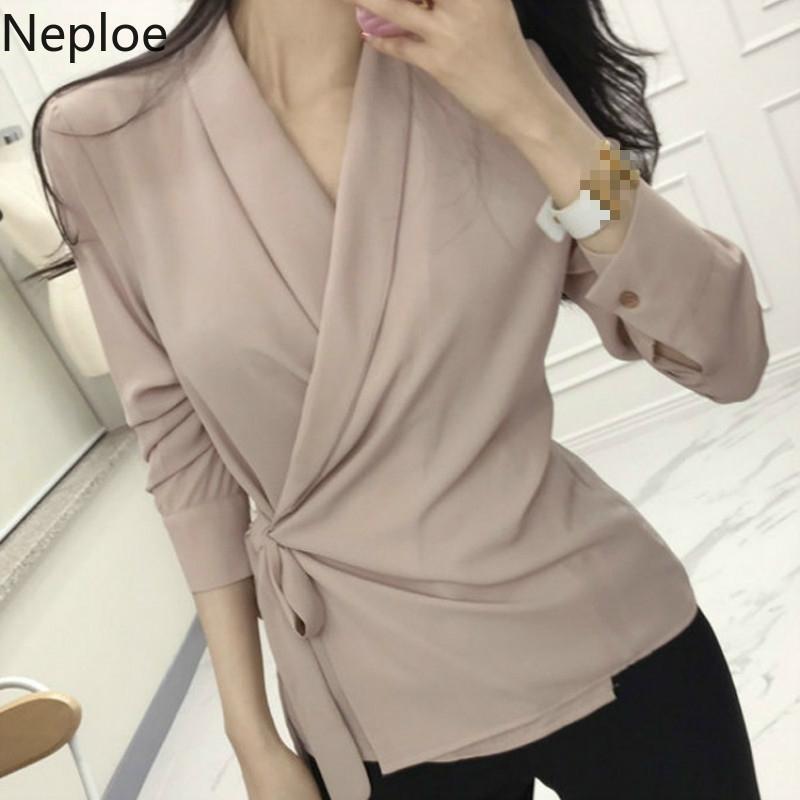 Lace Up Slim Cintura Blusa Mulheres Sólida V Pescoço Manga Longa Ladies Blusa Camisas Primavera Moda Casual Feminino Top1c767 210430