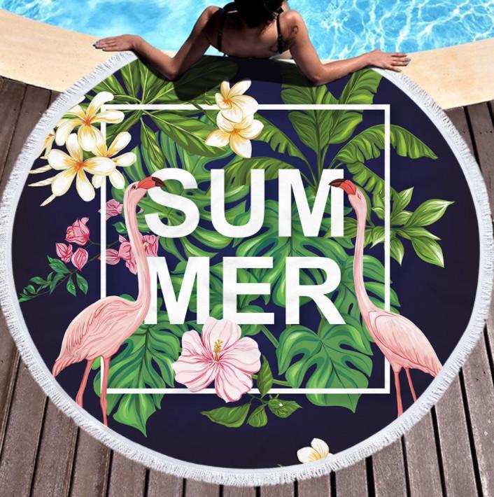 أحدث 150cm جولة منشفة الشاطئ المطبوعة، الصيف طراز فلامنغو ستوكات، شرابات شعور لينة، ودعم شعار مخصص