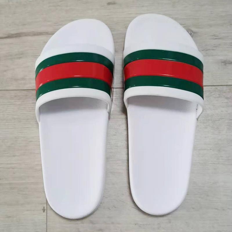 Diseñador de moda zapatillas para hombres damas para mujer Sandalias planas de goma deslizantes de goma Flip-chappa playa de rayas Zapatos casuales Tamaño EUR37-45 con bolsa de polvo ZLH