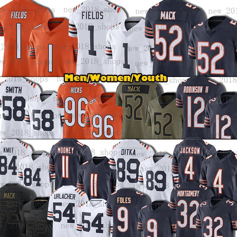 "1 Justin Fields Jersey 52 Khalil Mack 12 Allen Robinson II Chicago ""Bears"" Football Akiem Hicks Tarik Cohen Urlacher Smith Montgomery KMET Foles Mooney Jackson"