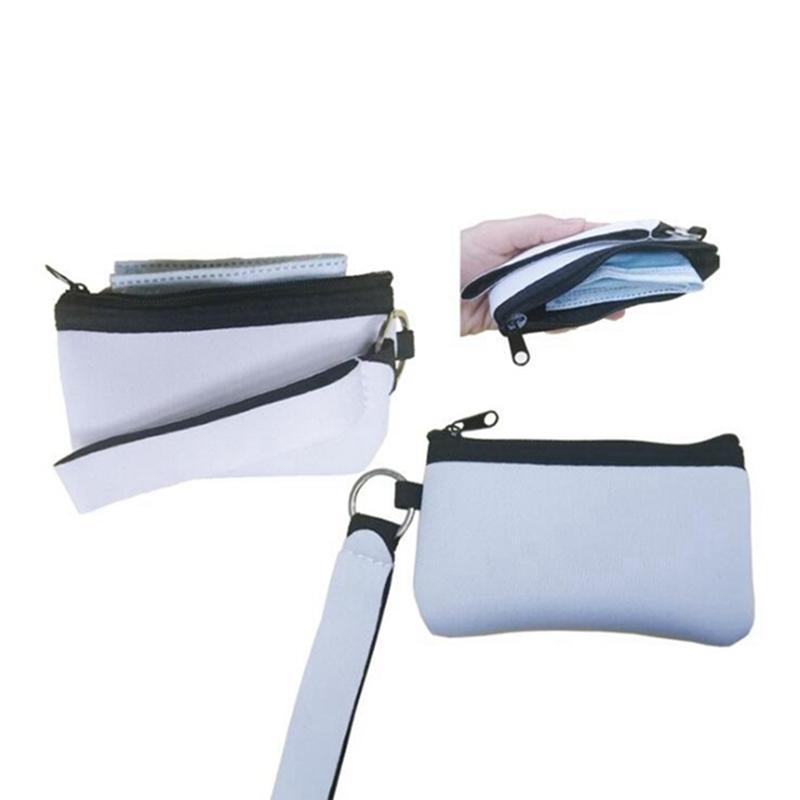 Sublimação Em Branco Cartão de Crédito Titular Slot Wallets Imprimir Bolsa de Neoprene com Lanyard Wristlet Wallet Bolsa Favor Jja174