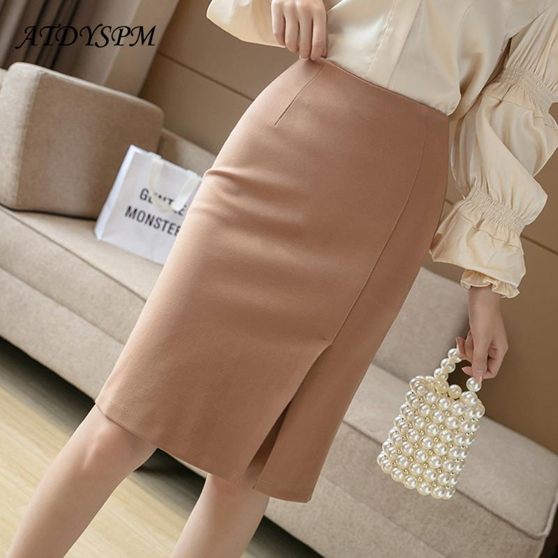 All-Match Knee-Length High Waist Pencil Skirts Women Comfortable Elastic Fabric Large Size Office Skirt Female Casual Clothing