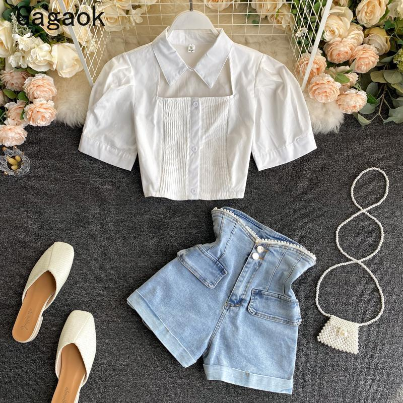 Gagaok Streetwear Two Piece Set Women 2021 Summer Sexy Navel Fashion Chic Wild Outfits Hollowout Solid Blouses + Shorts Women's Tracksuits