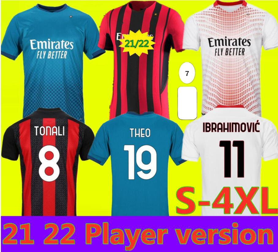 Ibrahimovic AC 20 21 밀라노 축구 유니폼 2020 2021 Piatek 축구 셔츠 Paqueta Theo Rebic Camisa de Futebol Maillot Men + Kids Kit