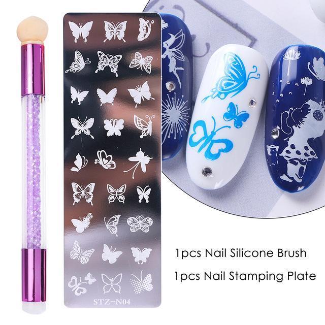 Nail art Kits 2 teile / satz Stempelplatten Set Silikon Schwammbürste Polnisch Transfer Schablonen Blume Geometrie DIY Vorlage für Werkzeuge