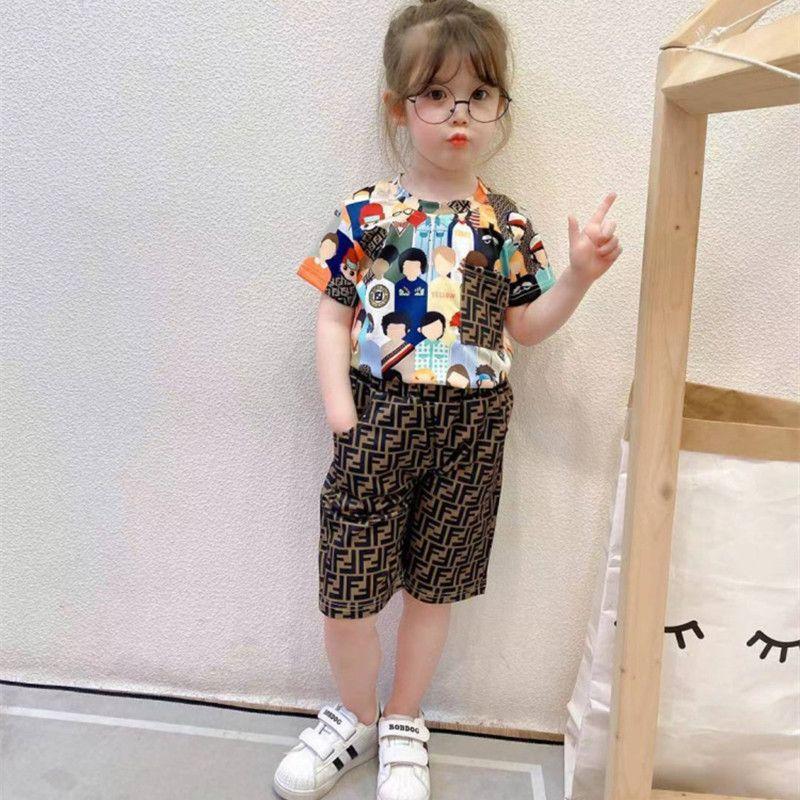 التجزئة / الجملة الاطفال بنات إلكتروني مطبوعة رياضية 2 قطع تساتين مجموعة الأزياء الزى + قصيرة رياضية الأطفال مصممين الملابس