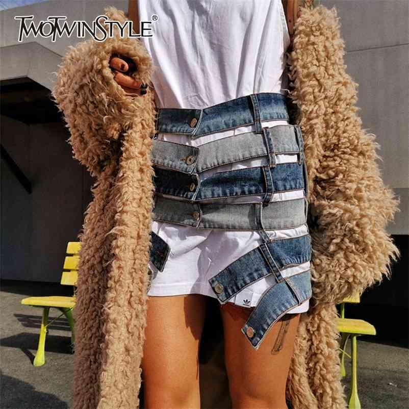 TwoTwinstyle Patchwork Treffer Farbe Sexy Rock Frauen Hohe Taille Asymmetrisch Große Größe Mini Weibliche Röcke Kleidung Fashion TIDE 210412