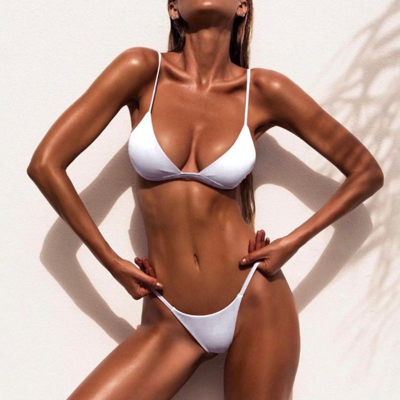 Mulheres Swimwear Solid Bikini Set 2021 Sexy Push Up Mulheres Brasileira Baixo Cintura Biquini Halter Dois Peças Banheira Terno