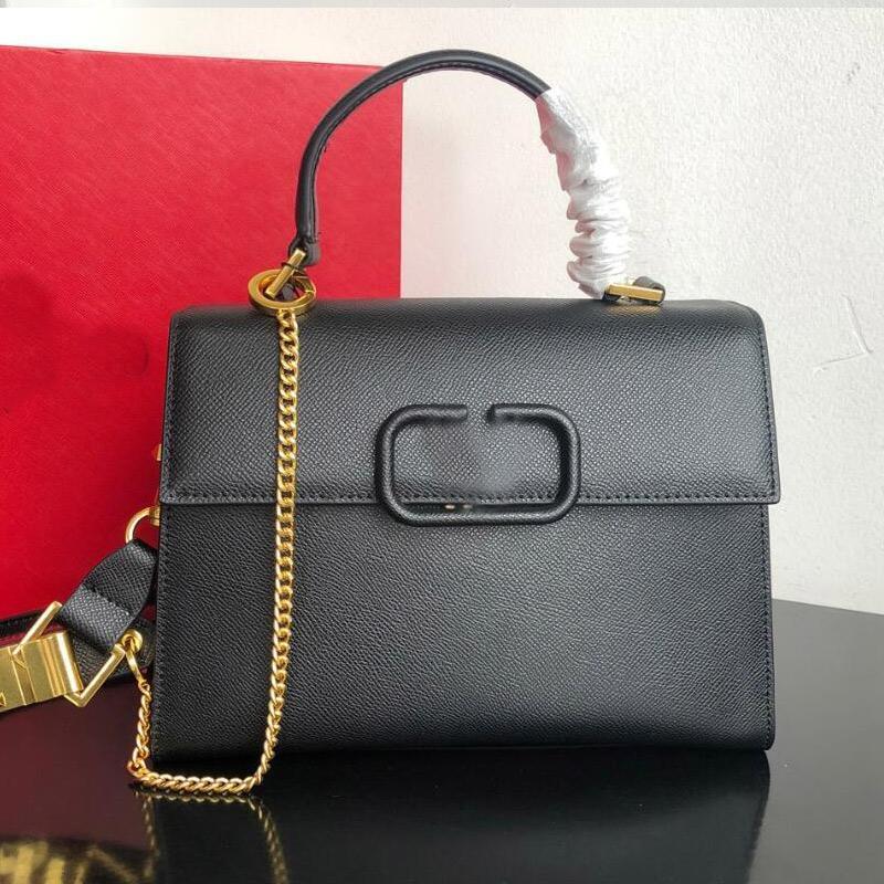Sling Handbag Lady Tote Fashion Letter Shoulder Bags Adjustable Strap Genuine Leather Plain Style Simple Design Women Handbags Purse Shopping Bag with V