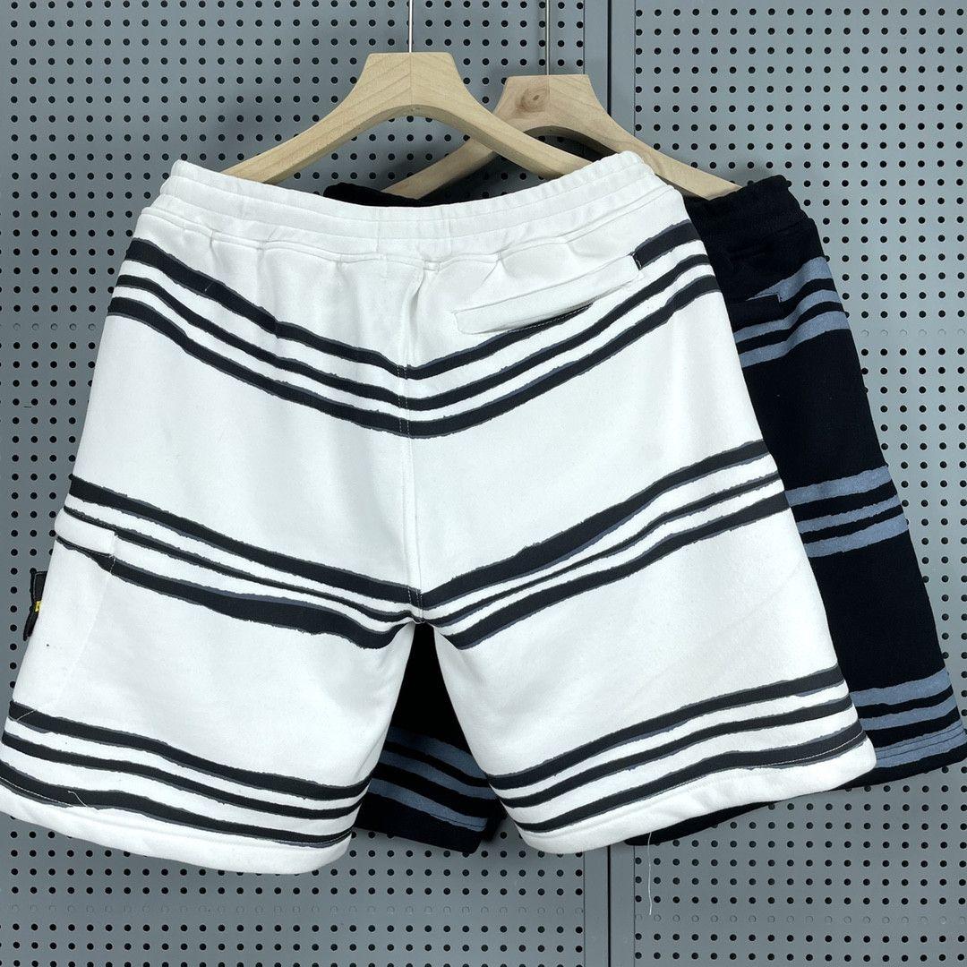 Erkek Rahat Spor Adası Şort Nefes Çizgili Pantolon Cep Rozeti Pantolon İşlemeli Logo Tasarım Taş Diz Boyu Giyim CP2162125