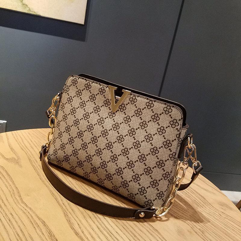 Bolsa de crossbody de impresión floral para bolsos de mujer bolsos de alta calidad y bolsas V en cc hombro