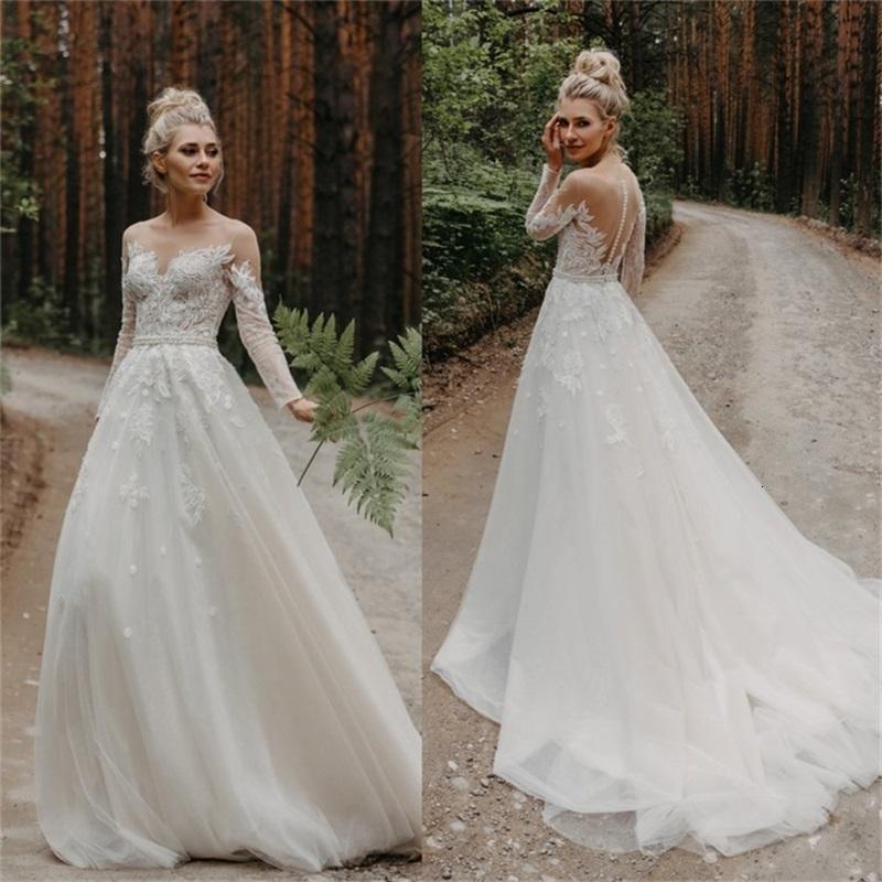 2020 Böhmische Brautkleider Jewel Lange Ärmel Applique Eine Linie Hochzeitskleid Sweep Zug Brautkleider