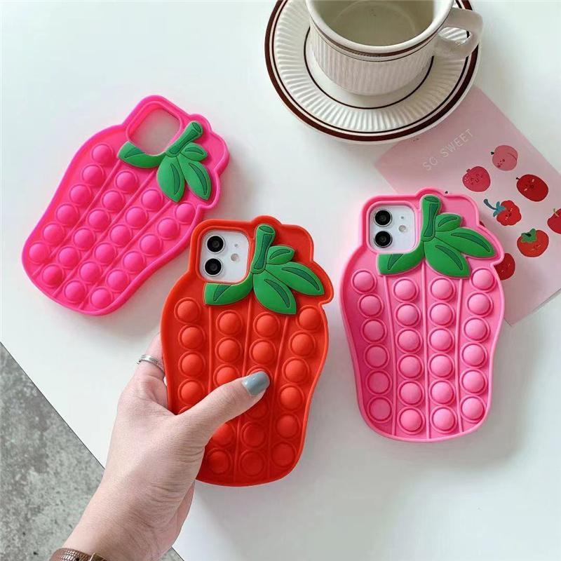 귀여운 딸기 팝 IT iPhone 11 12 Pro X XR XS Max Push Bubble Sensory 3D 만화 소프트 실리콘 장난감