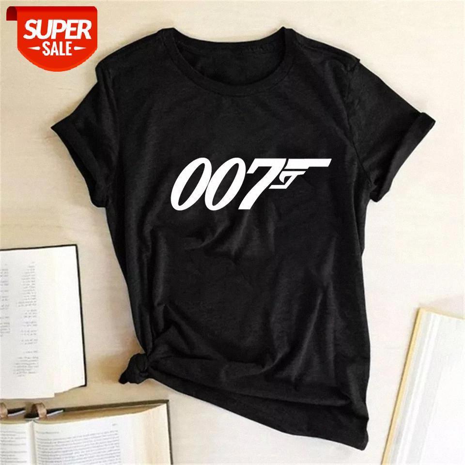 T-shirt Film Film Serisi James Bond 007 T Shirt Kadınlar Top 2020 Baskı Tee Kısa Kollu Yaz Tshirt Egirl Harajuku Estetik Giysileri # SV1L