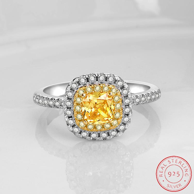 Solid 925 Sterling Silver Ring Luxury 2 Carat Yellow Created Diamond Fit Women Party Fashion Gift Jewelry XR486