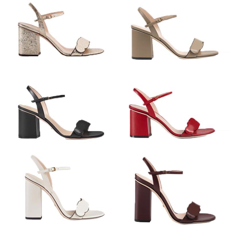 Mulheres designers de moda sandálias grosseiras salto alto couro camurça mulher sapatos de metal fivela festas lisas flip flops sandal tamanho 34-42