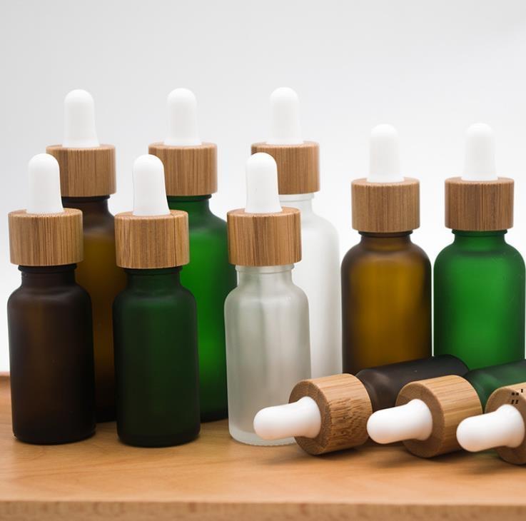 30 ml Buzlu Temizle Damlalık Şişesi Bambu Kapak Kapağı ile Temel Yağ Cam Şişeler Don Yeşil Parfüm Vials DWF6582