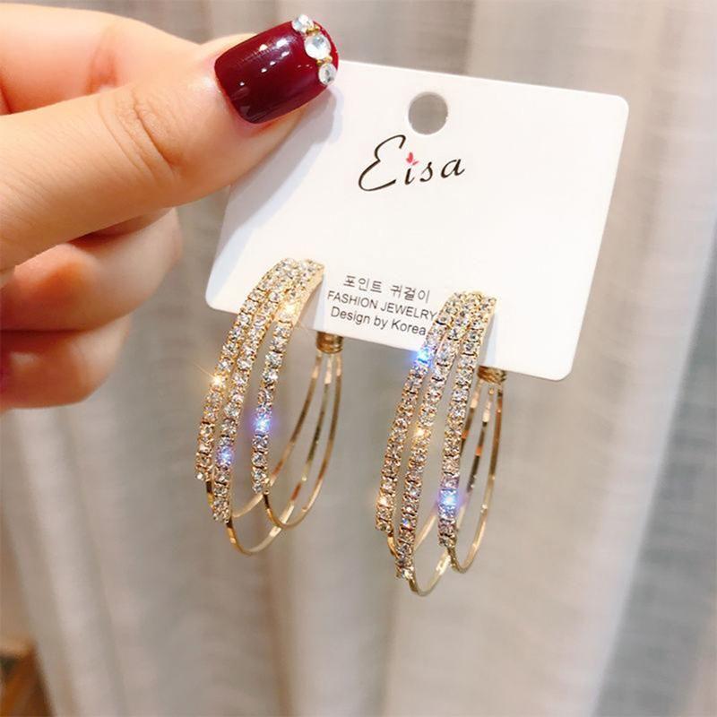 Fashion Women Jewelry Pendientes redondos múltiples Pendientes de oro brillante de oro Rhinestone para el perno de la fiesta de bodas