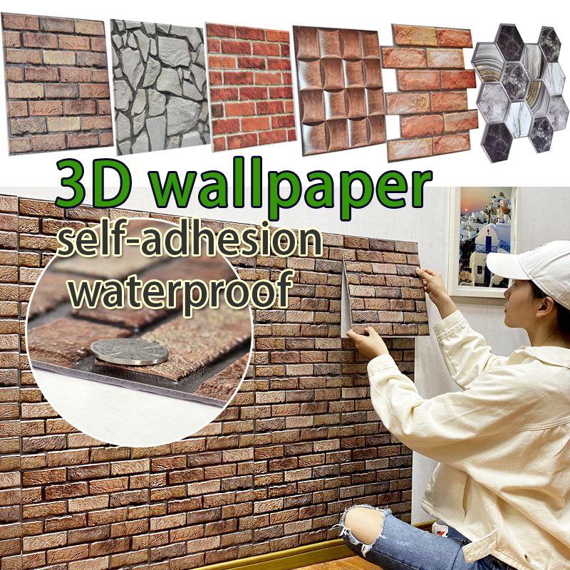 30 * 30 cm 3D Duvar Kağıdı Çıkartmalar DIY Tuğla Taş Kendinden Yapışkanlı Su Geçirmez Duvar Kağıdı Ev Dekor Mutfak Banyo Oturma Odası Kiremit Sticker Yenileme