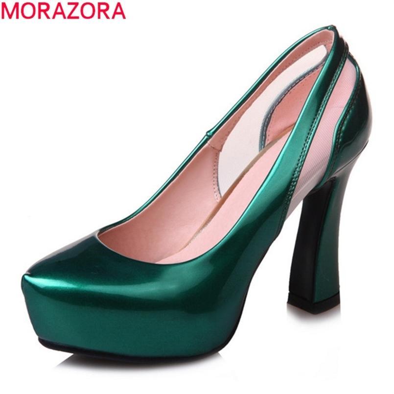 Morazora Große Größe 33-43 Sommer High Heels Schuhe Dicke Heels Spitz Party Schuhe Lackleder Frauen Pumps 210408