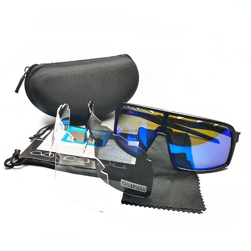 Ciclismo óculos de sol bicicleta bicicleta óculos moda ao ar livre esporte sol óculos estrada montanha preta preta polarizada lente com o caso nº 9406