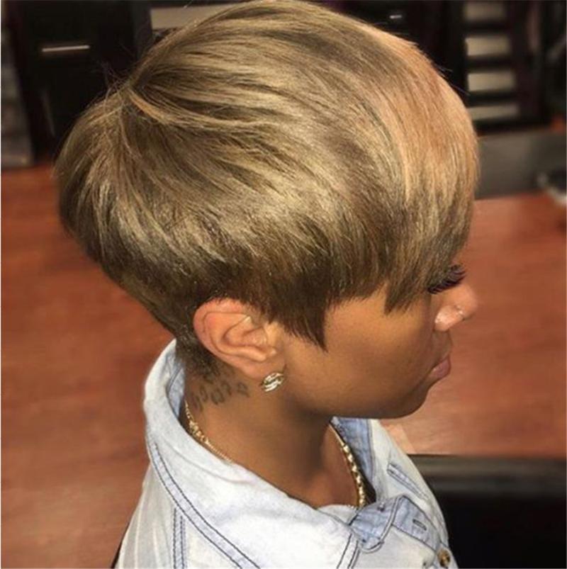 Sentetik peruk kısa sarışın peruk yan patlama ile Pixie afro kadınlar için günlük parti sahte saç doğal görünümlü