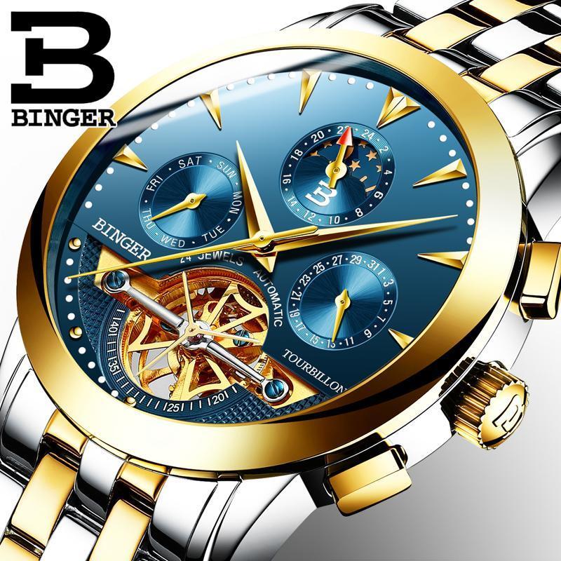 Mens Top 시계 자동 기계 시계 스테인레스 스틸 방수 Binger Relogio Masculino Skeleton Wristwatches
