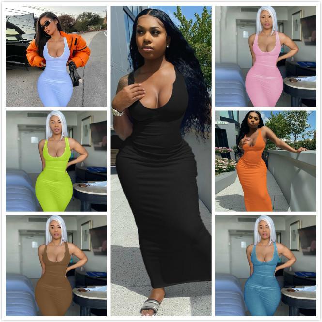 Designers Maxi Longues Robes Pour Femmes U-Cou Sans Manches Long Modycon Robe Sexy Noir Blanc Dress Club Port Jupe Porter