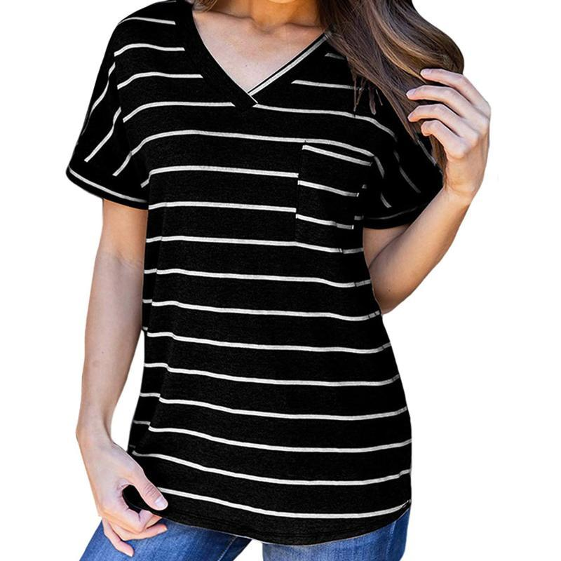 Women's T-Shirt Summer Casual Striped Short Sleeve V Neck Shirts Tops With Pocket Loose Tee